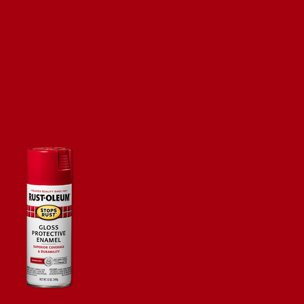Rust-Oleum Stops Rust 12 oz. Protective Enamel Gloss Sunrise Red Spray Paint