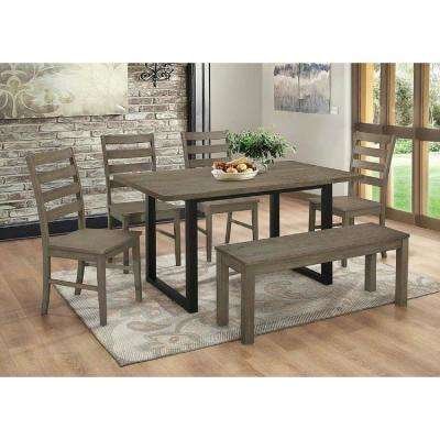 Madison 6-Piece Aged Grey Wood Dining Set