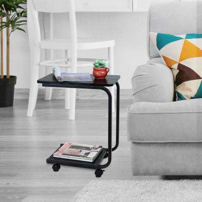 BandW Black U-Shaped Side Table with Casters