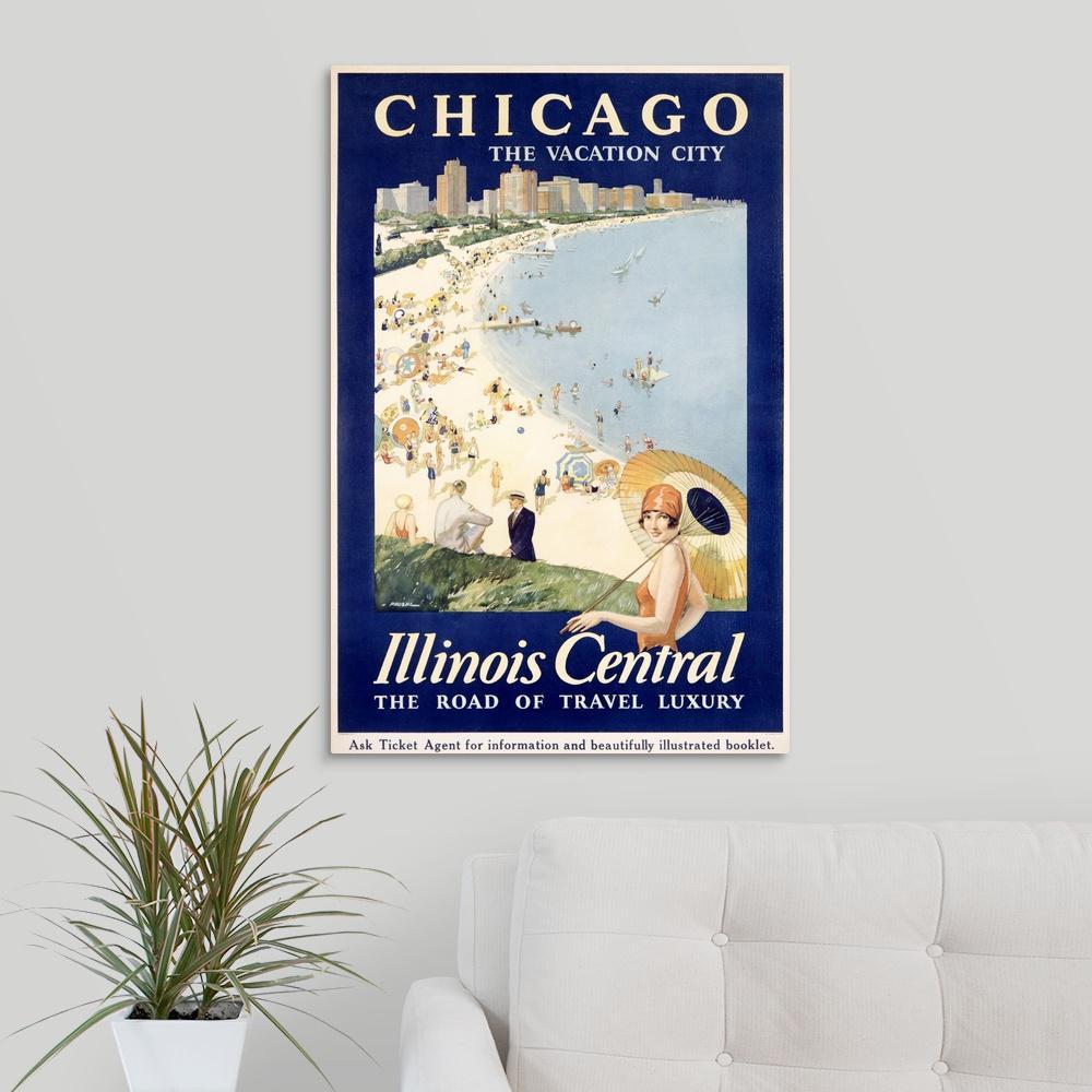 Greatbigcanvas Chicago The Vacation City Central Train Vintage