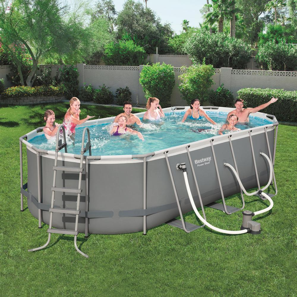 Power 18 ft. x 9 ft. x 4 ft. Above Ground Pool Set with Pump and Cleaning  Kit