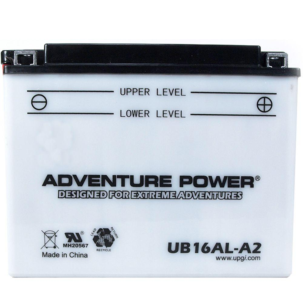 UPG Conventional Wet Pack 12- Volt 16 Ah Capacity B Terminal Battery Adventure Power conventional motorcycle batteries combine time-tested technology with modern manufacturing processes, resulting in unparalleled reliability at an affordable price. Adventure Power batteries feature high cranking amps, superior vibration resistance, and minimal maintenance. Primary Applications: Motorcycle.