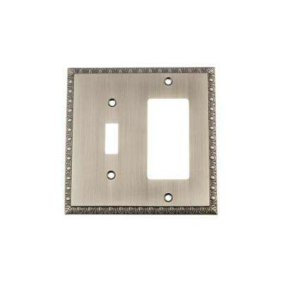 Egg and Dart Switch Plate with Toggle and Rocker in Antique Pewter