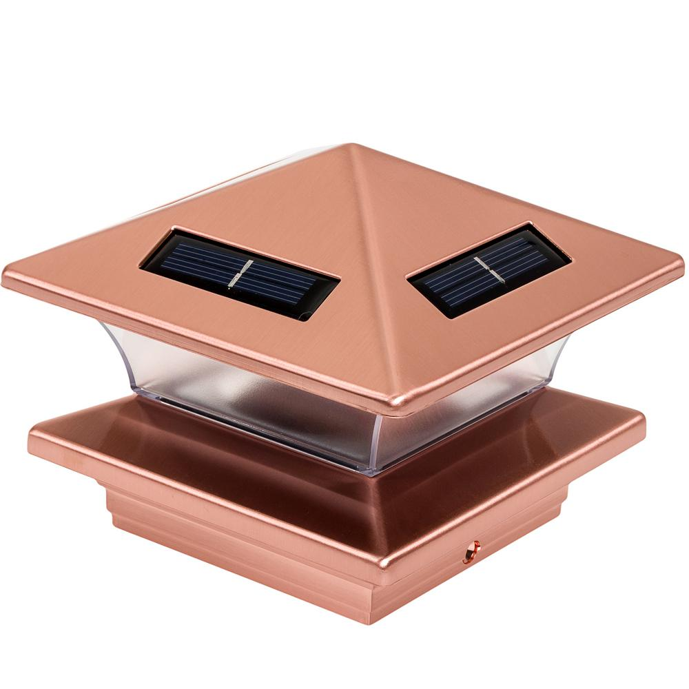 4 in. x 4 in. Solar Powered Integrated LED Copper Plated
