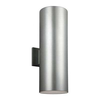 Outdoor Cylinder Collection 1-Light Painted Brushed Nickel Wall Lantern