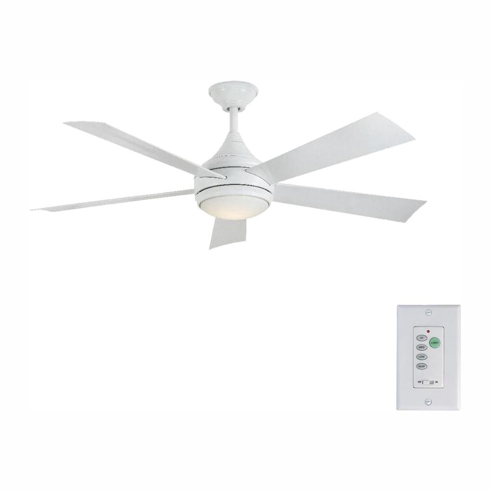 Home Decorators Collection Hanlon 52 in. LED Indoor/Outdoor Stainless Steel White Ceiling Fan with Light Kit and Wall Control