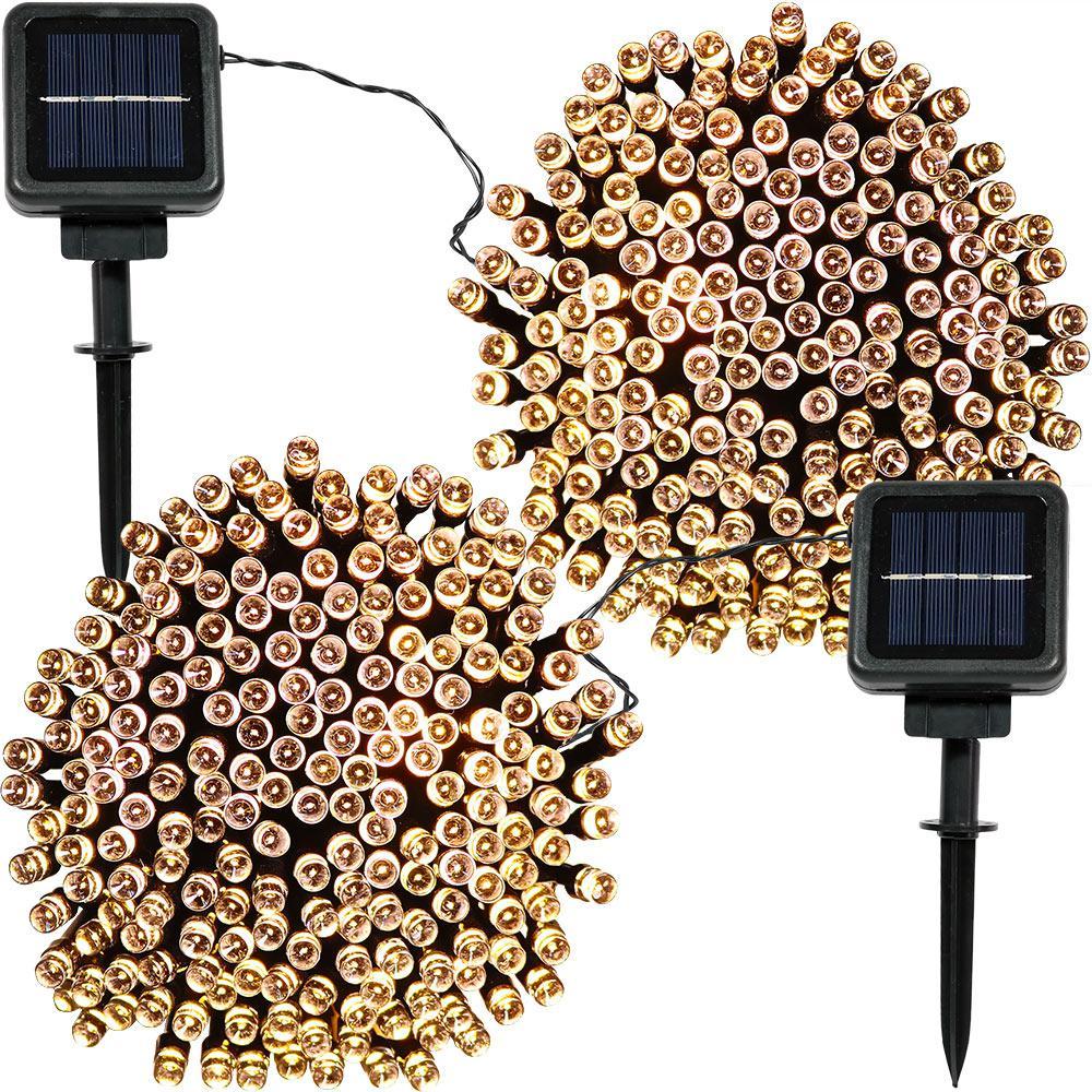200-Light Outdoor 68 ft. Solar Round Mini LED String Light Set in Warm White (2-Pack)