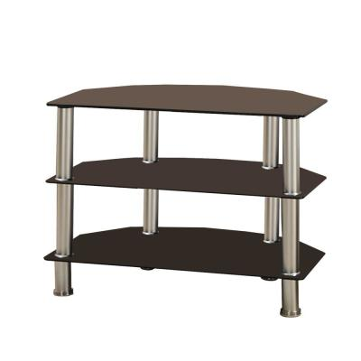 Black and Silver Metal and Glass TV Stand with 3-Shelves