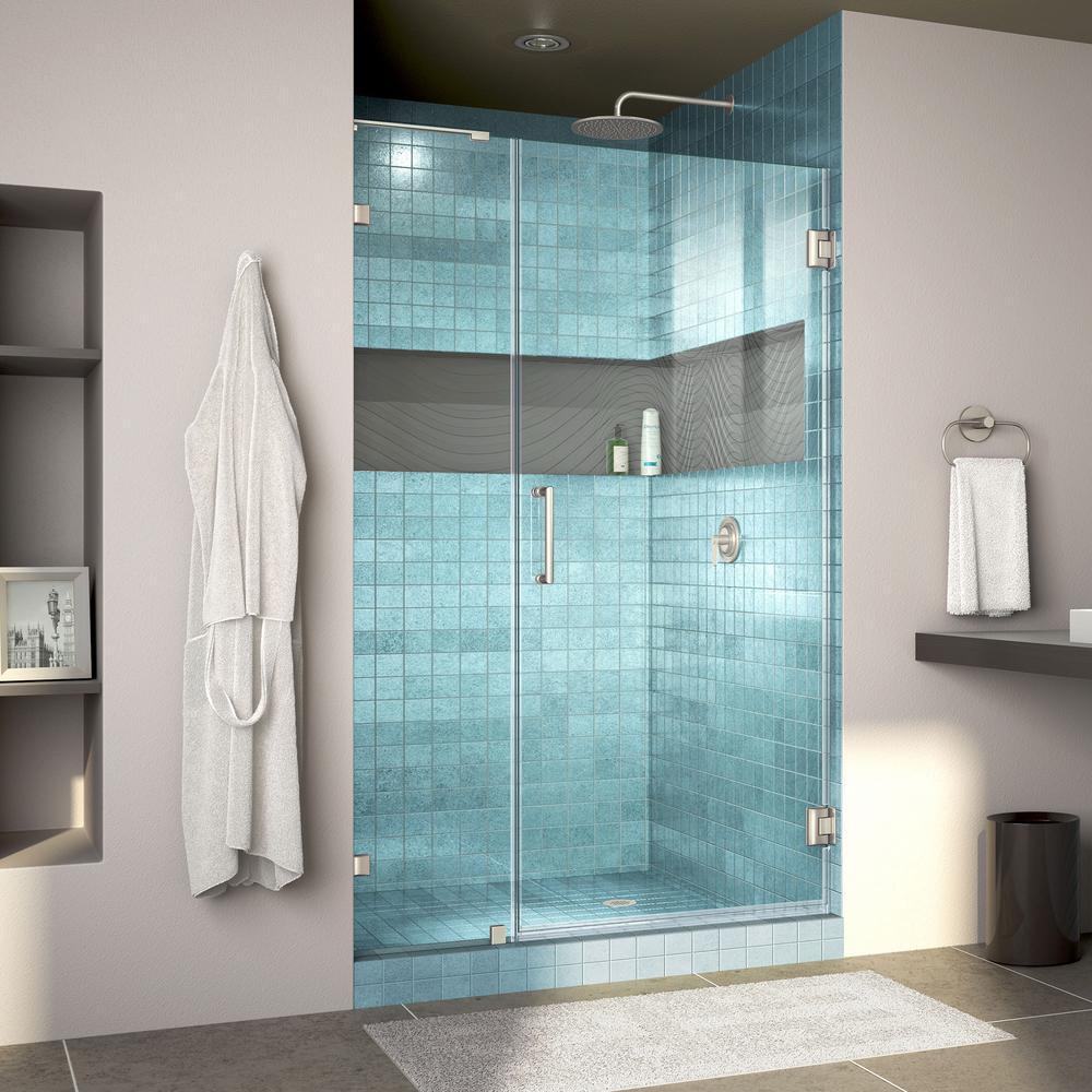 Unidoor Lux 38 in. x 72 in. Frameless Hinged Shower Door