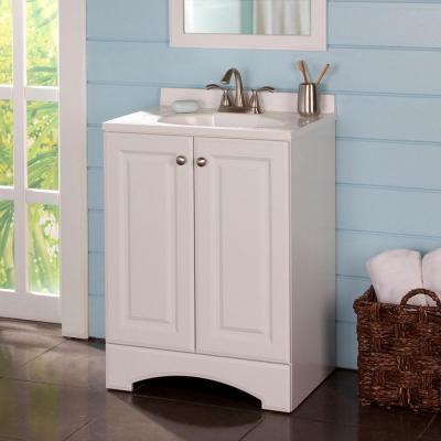 24 in. W x 36 in. H x 19 in. D Bath Vanity in White with Vanity Top in White and White Basin