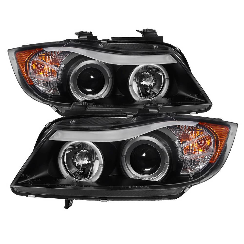 Spyder Auto BMW E90 3-Series 06-08 4DR Projector Headlights - LED Halo -  Amber Reflector - Replaceable Eyebrow Bulb - Black