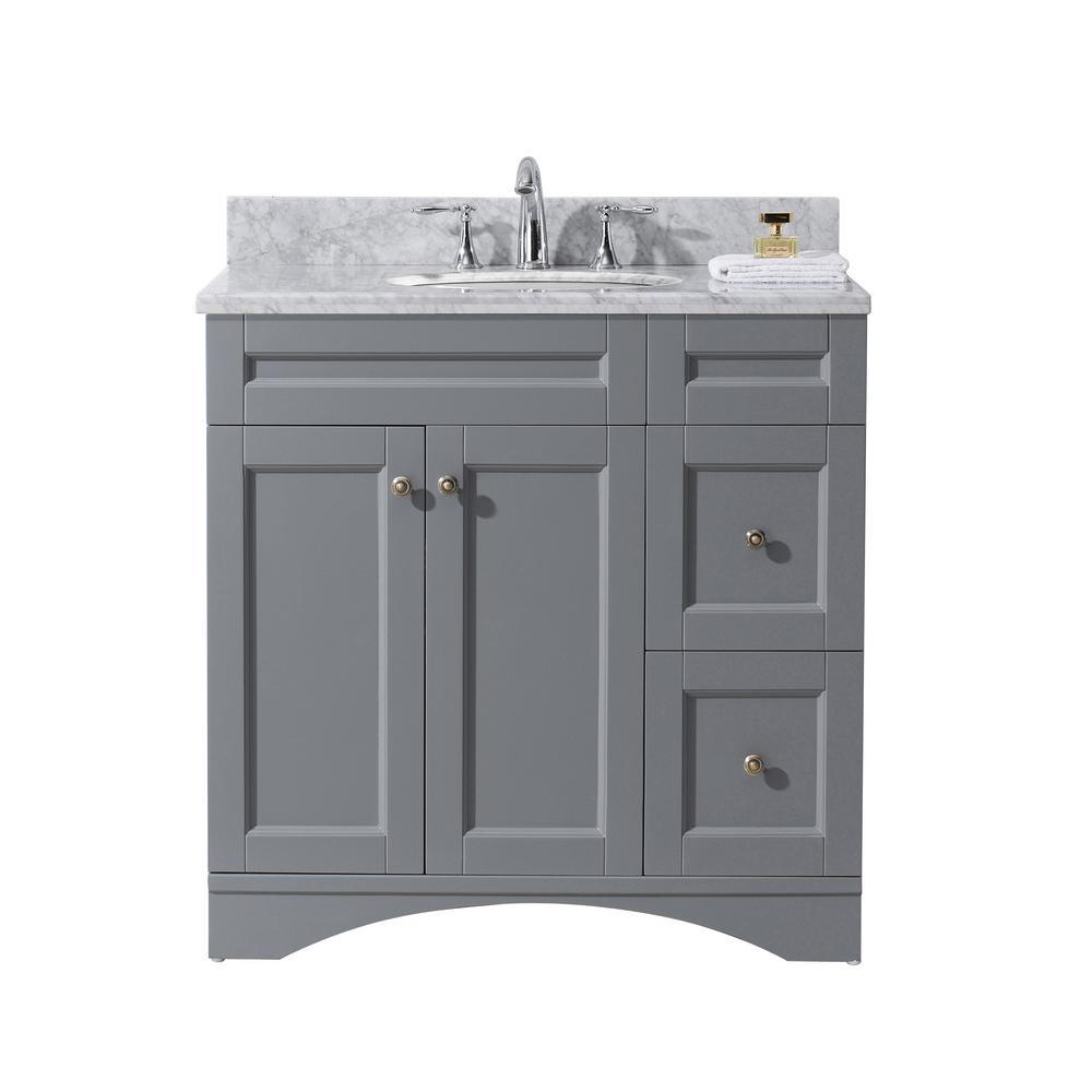 45 Bathroom Vanity Home Depot: Virtu USA Elise 36 In. W X 22 In. D Vanity In Grey With