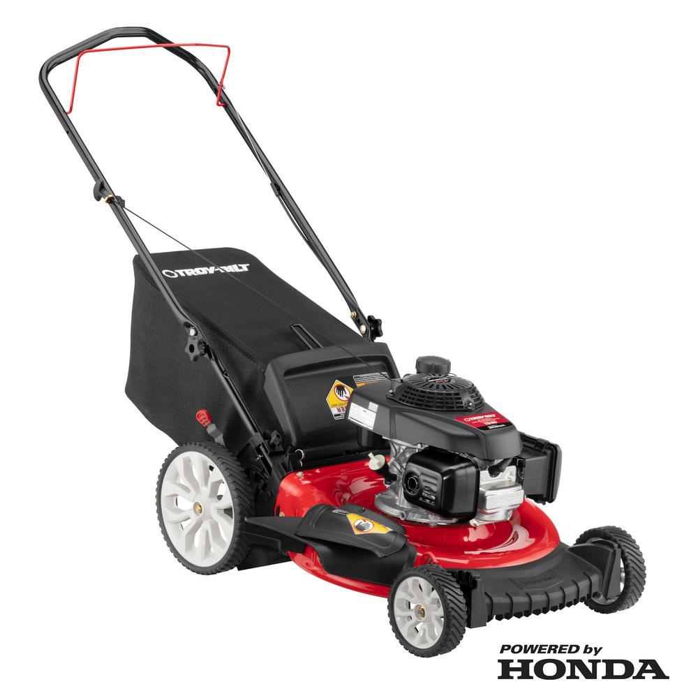 21 in. 160 cc Honda Gas Walk Behind Push Mower with High Rear Wheels and 3-in-1 Cutting TriAction Cutting System