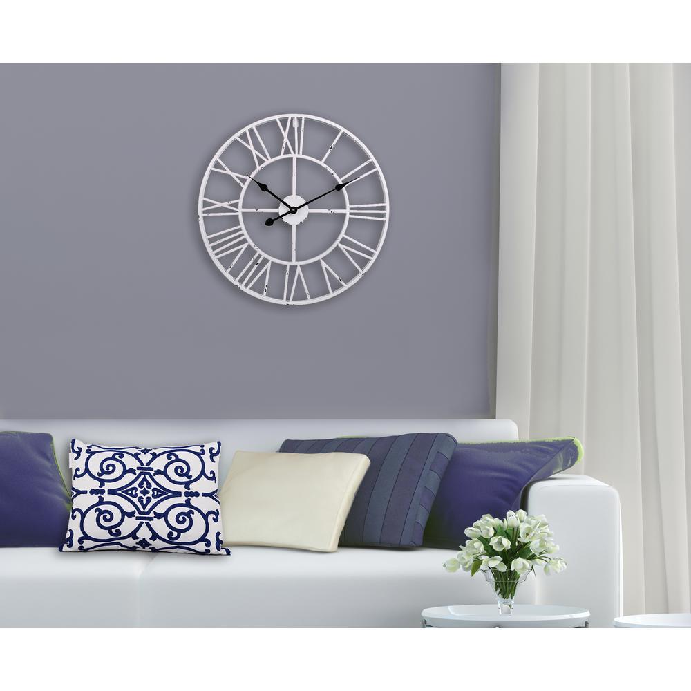 Utopia Alley Roman Round Clock Distressed White 24 Diameter