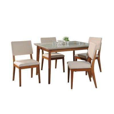 Lillian 45.66 in. and Dover 5-Piece Off-White and Beige Dining Set
