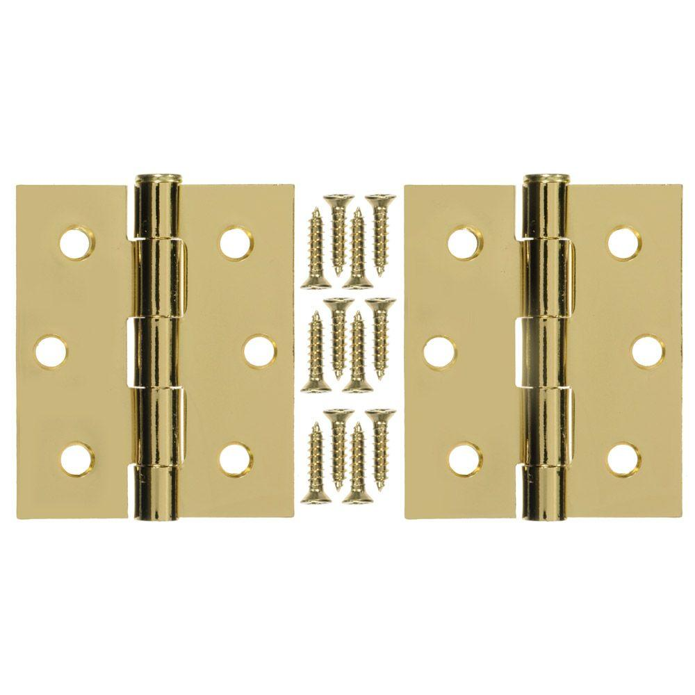 null 3 in. x 25 in. Steel and Brass Plated Hinge (1-Pair)