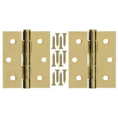 3 in. x 25 in. Steel and Brass Plated Hinge (1-Pair)