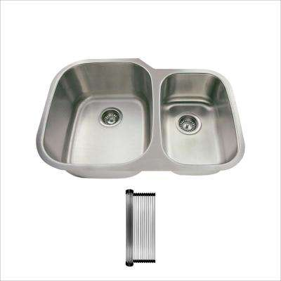 All-in-One Undermount Stainless Steel 29-3/8 in. 60/40 Double Bowl Kitchen Sink
