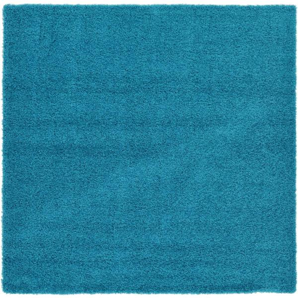 Solid Shag Turquoise 8 ft. Square Area Rug