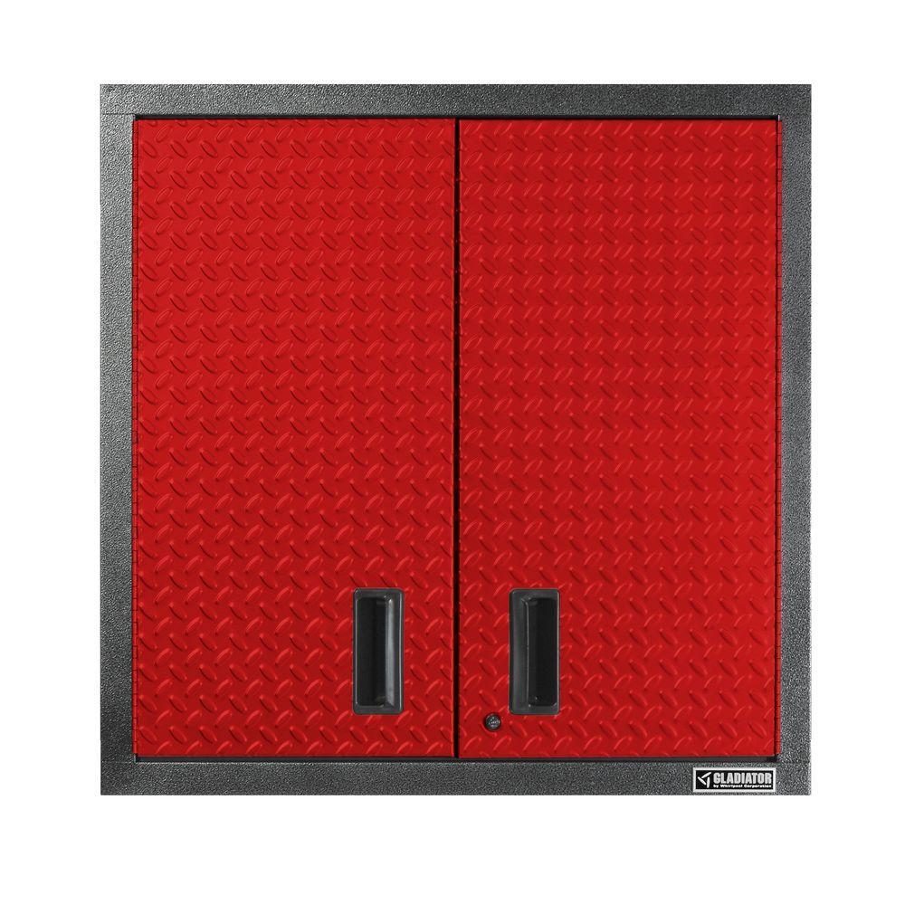 Gladiator Premier Series Pre-Assembled 30 in. H x 30 in. W x 12 in. D Steel 2-Door Garage Wall Cabinet in Racing Red Tread