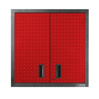 Premier Series Pre-Assembled 30 in. H x 30 in. W x 12 in. D Steel 2-Door Garage Wall Cabinet in Red Tread