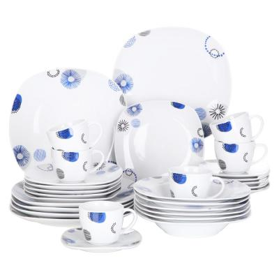 30-Piece White Pattern Porcelain Dinnerware Set Dinner Plates Cup and Saucer Sets(Service for 6)