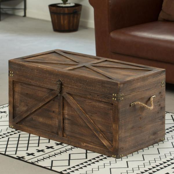 Vintiquewise Brown Large Wooden Lockable Trunk Farmhouse Style Rustic Design Lined Storage Chest With Rope Handles-QI003797L - The Home Depot