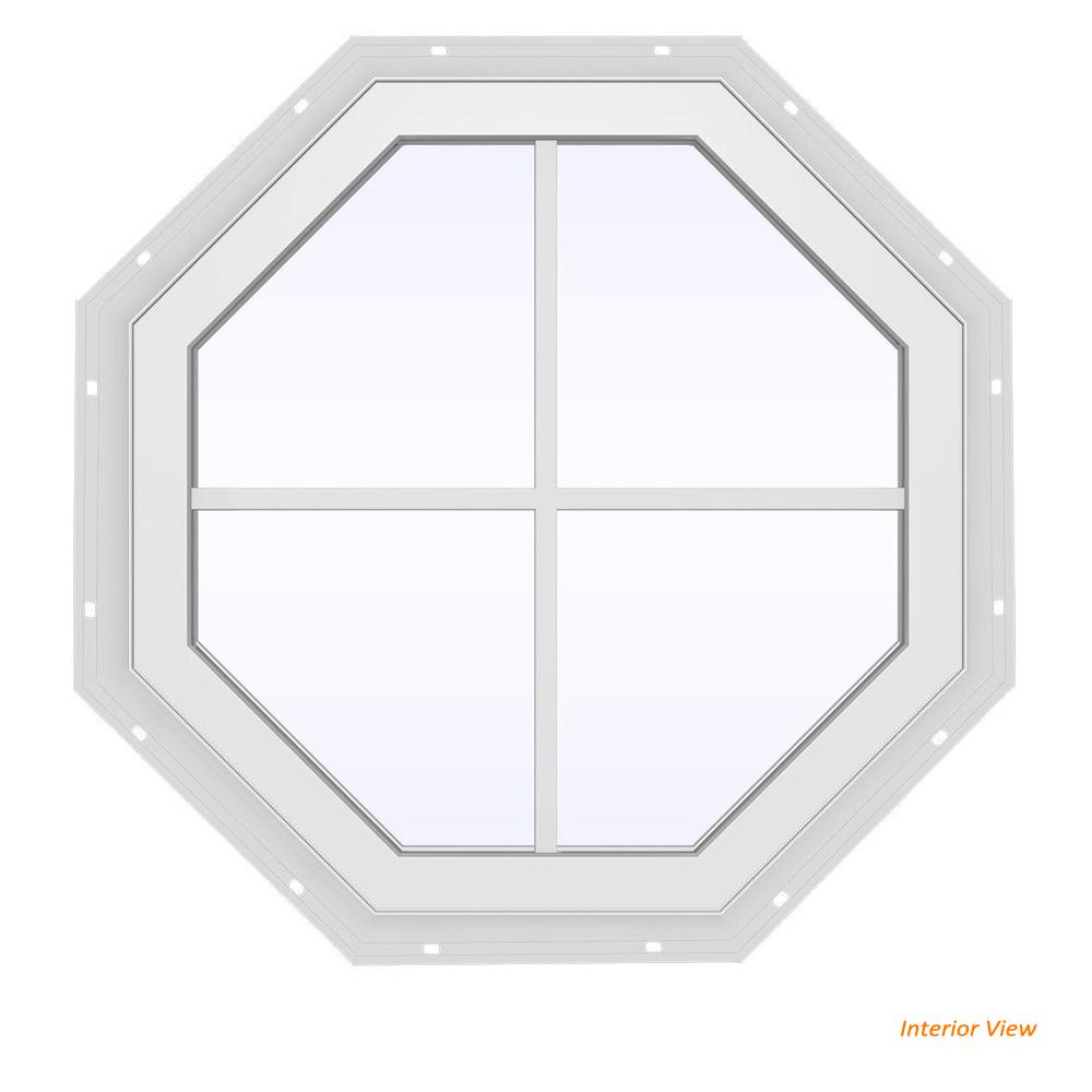 JELD-WEN 23.5 in. x 23.5 in. V-4500 Series White Vinyl Fixed Octagon Geometric Window with Colonial Grids/Grilles