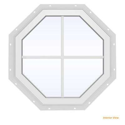 23.5 in. x 23.5 in. V-4500 Series White Vinyl Fixed Octagon Geometric Window with Colonial Grids/Grilles