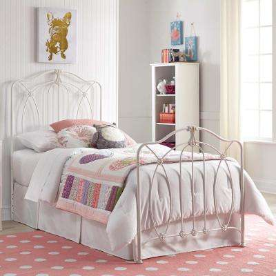 Kaylin Soft White Full Kids Bed with Metal Duo Panels and Medallions Accents