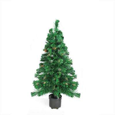 3 ft. Pre-Lit Color Changing Fiber Optic Artificial Christmas Tree Multi-Lights