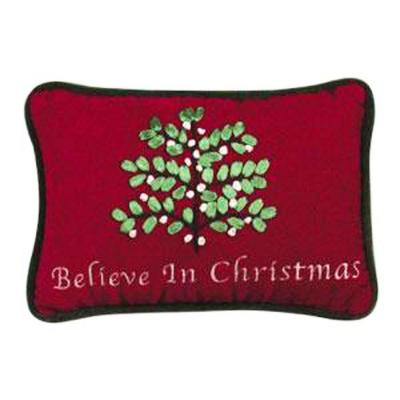 Red Believe 6 in.  x 9 in. Christmas Pillow
