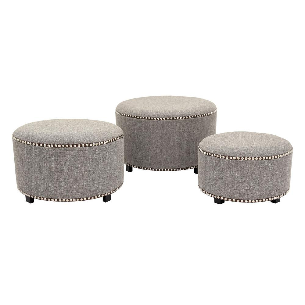 THREE HANDS Gray Round Ottoman (Set of 3)-89879 - The Home Depot