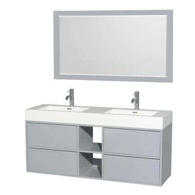 Daniella 60 in. W x 18 in. D Vanity in Dove Gray with Acrylic Vanity Top in White with White Basins and 58 in. Mirror