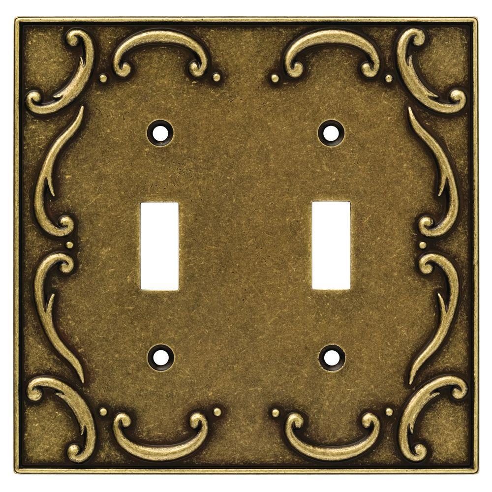 Liberty French Lace Decorative Double Switch Plate, Burnished Antique Brass