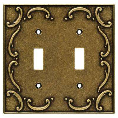 French Lace Decorative Double Switch Plate, Burnished Antique Brass