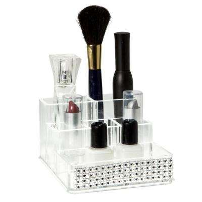4.96 in. x 4.17 in. x 2.56 in. 6 Section Cosmetic and Jewelry Holder in Pave Diamond Design