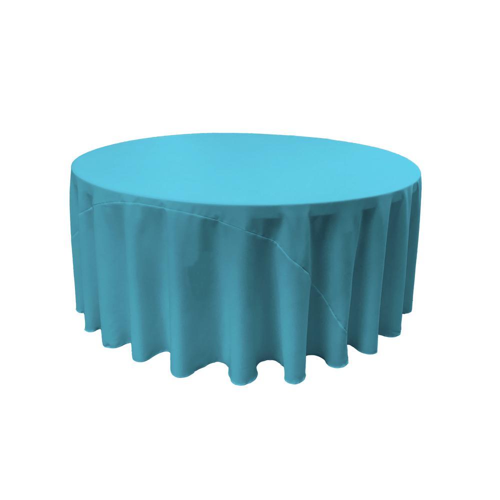 LA Linen 132 in. Round Dark Turquoise Polyester Poplin Tablecloth