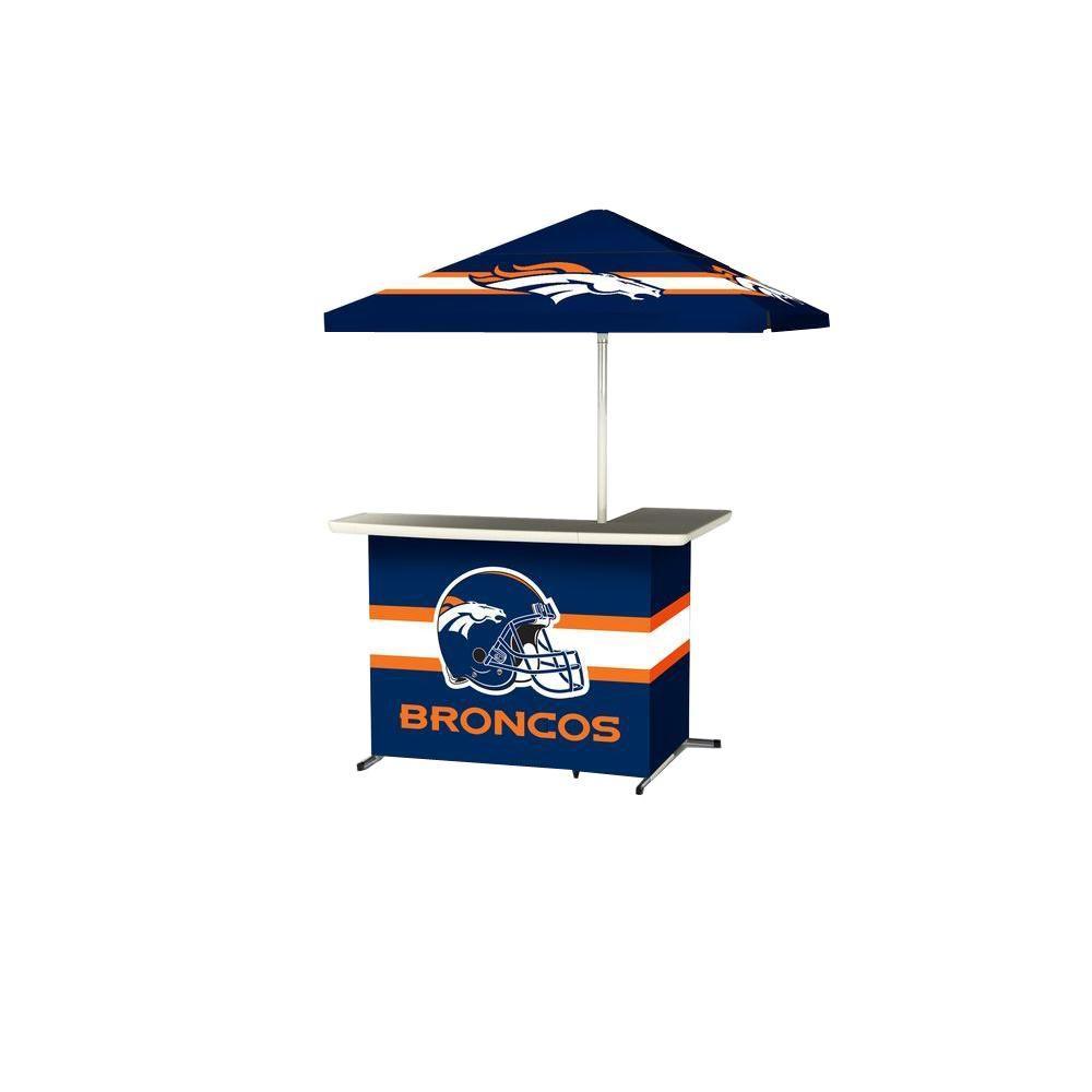 Denver Broncos All-Weather L-Shaped Patio Bar with 6 ft. Umbrella
