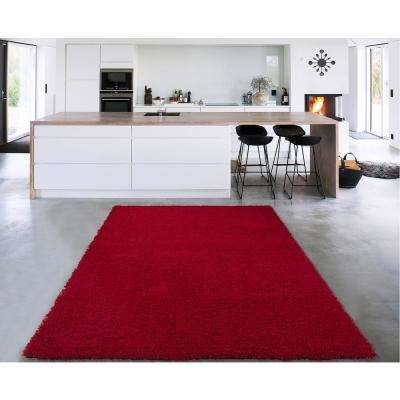 Cozy Shag Collection Red 8 ft. x 10 ft. Indoor Area Rug