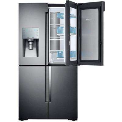 22.1 cu. ft. 4-Door Flex Food Showcase French Door Refrigerator in Black Stainless Steel, Counter Depth