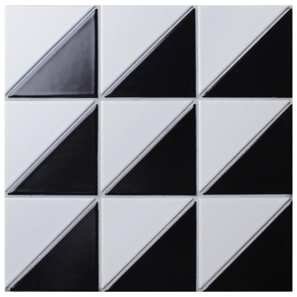 Tre Super Duel Iso Black with White 10-7/8 in. x 10-7/8 in. x 6mm Porcelain Mosaic Tile