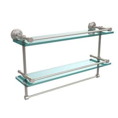 22 in. L  x 12 in. H  x 5 in. W 2-Tier Gallery Clear Glass Bathroom Shelf with Towel Bar in Satin Nickel