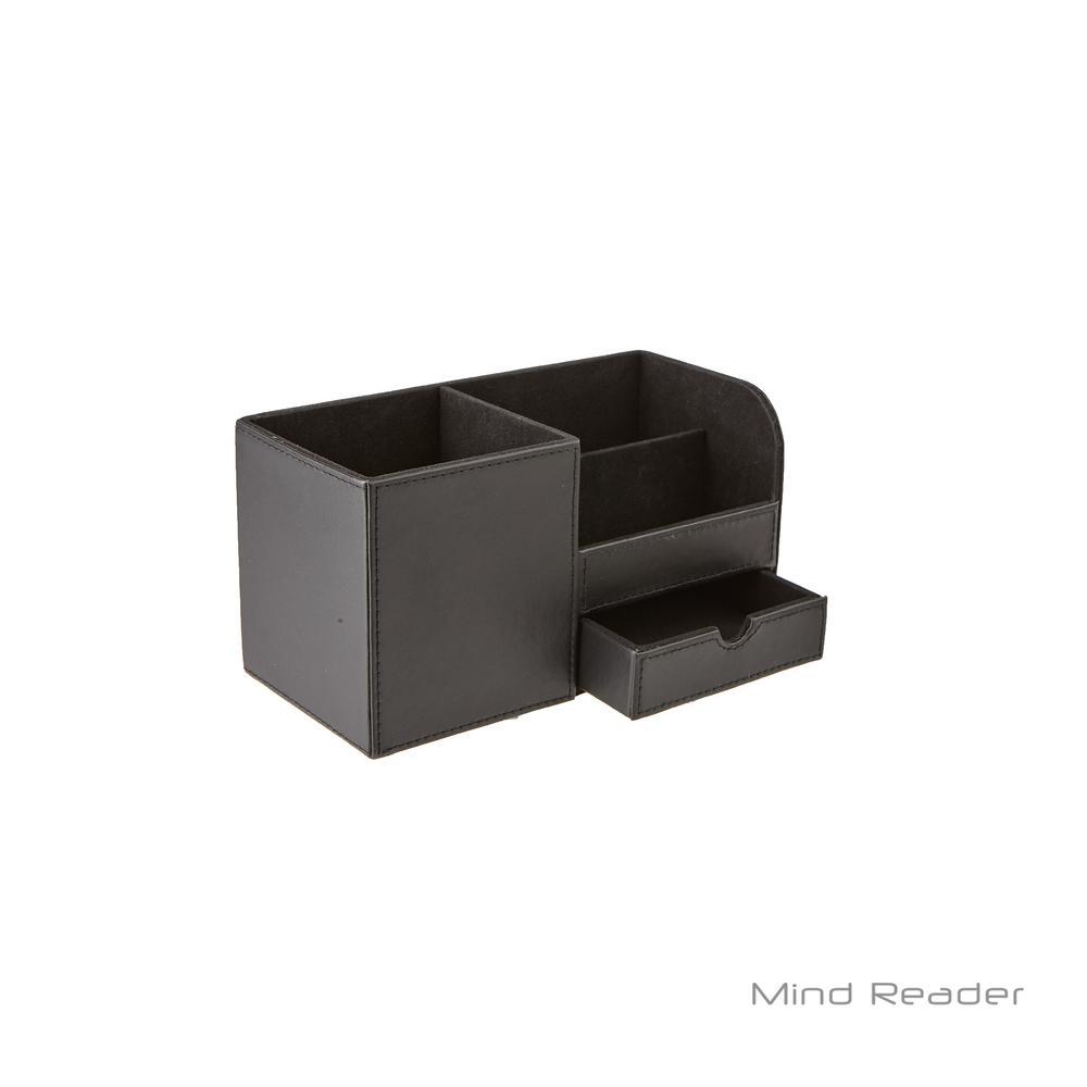 Faux Leather 3-Compartment Desk Supplies Organizer, Black