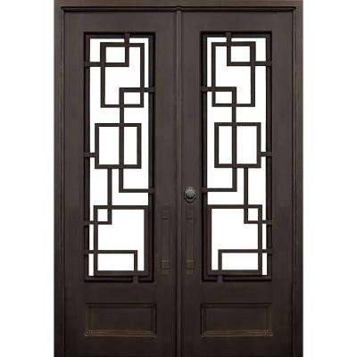 72 in. x 96 in. St. Andrews Dark Bronze Modern 3/4 Lite Painted Wrought Iron Prehung Front Door (Hardware Included)