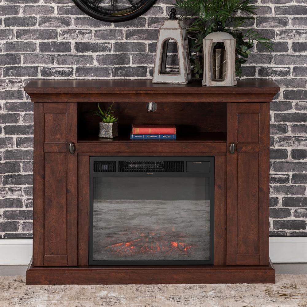 Home Source Tao Dark Walnut Plasma TV Stand with Electric Fireplace