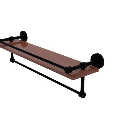 Dottingham Collection 22 in. IPE Ironwood Shelf with Gallery Rail and Towel Bar in Matte Black