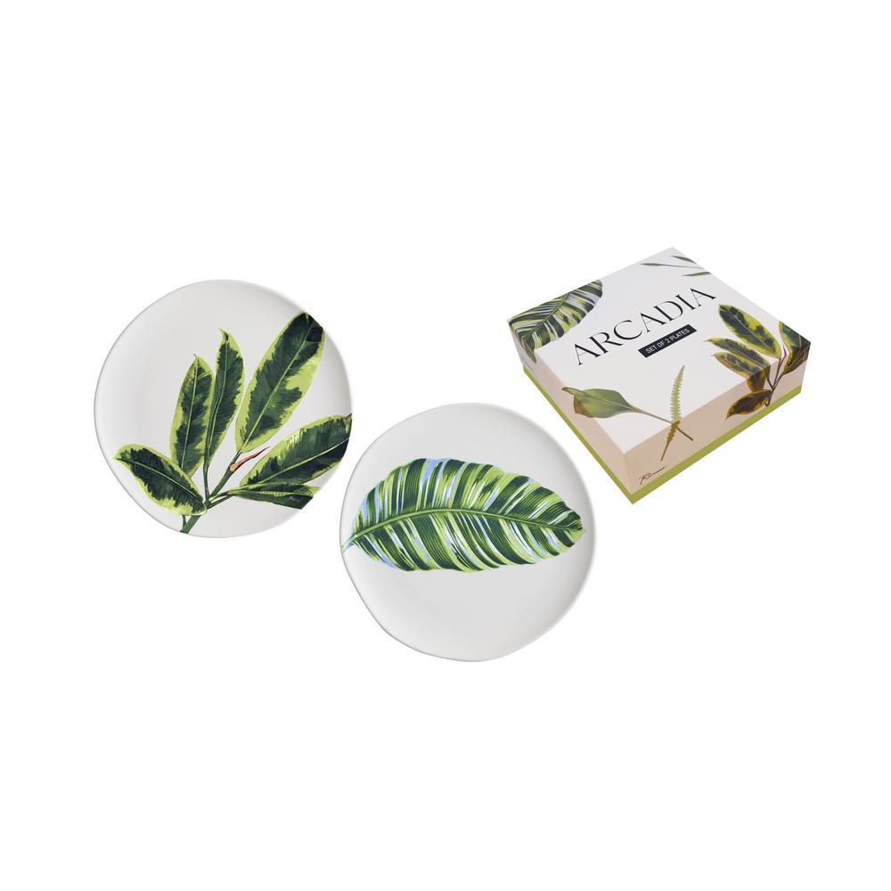 Arcadia Leaves Plates (Set of 2)