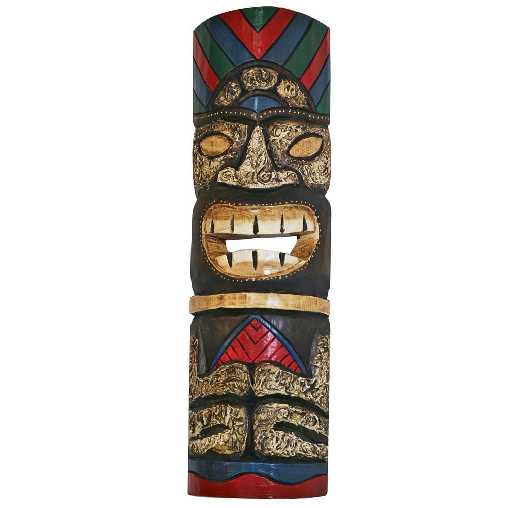 20 in. Tiki Mask Sitting Colorful Hawaiian Wood Art Wall Decor