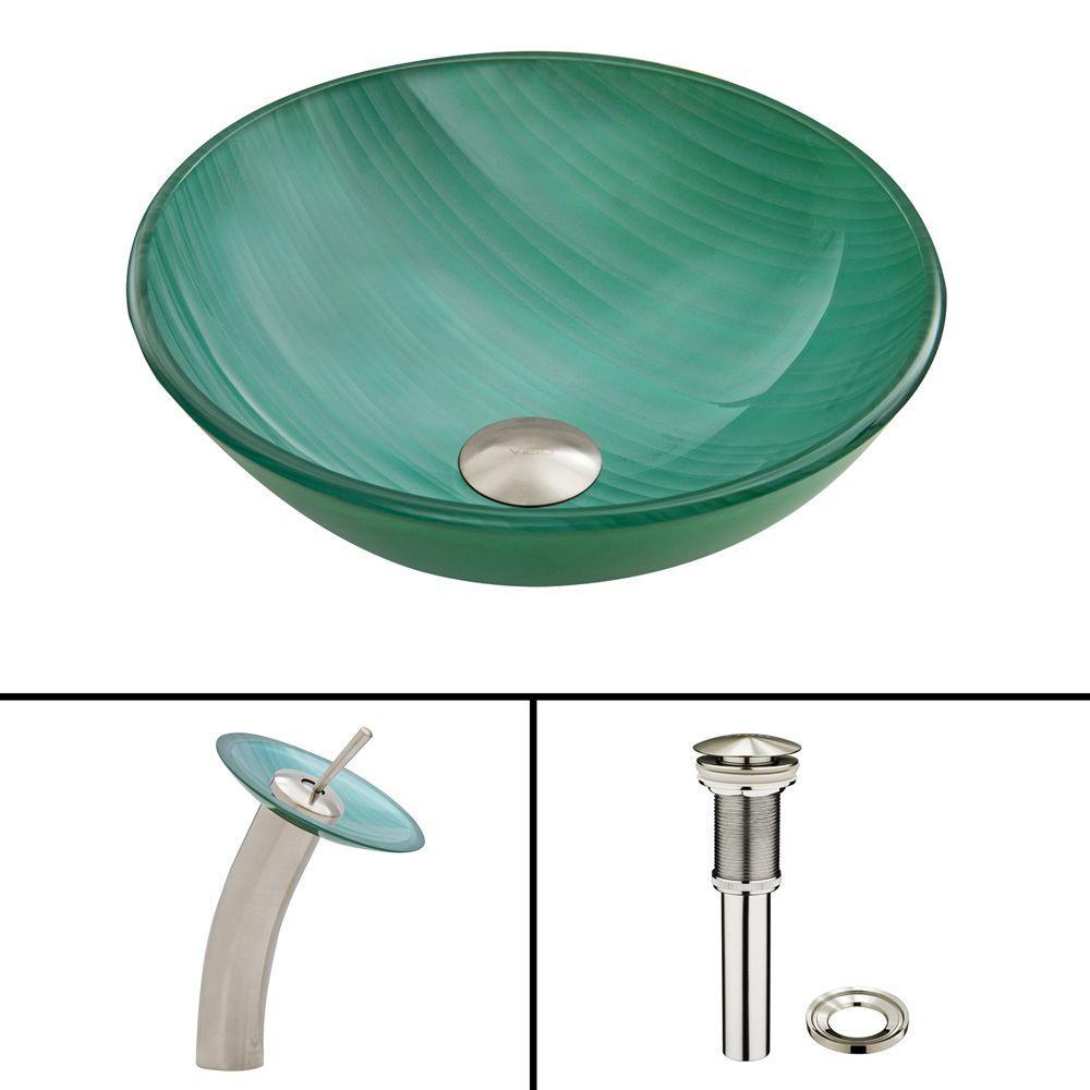 VIGO Glass Vessel Sink in Whispering Wind with Waterfall Faucet Set in Brushed Nickel